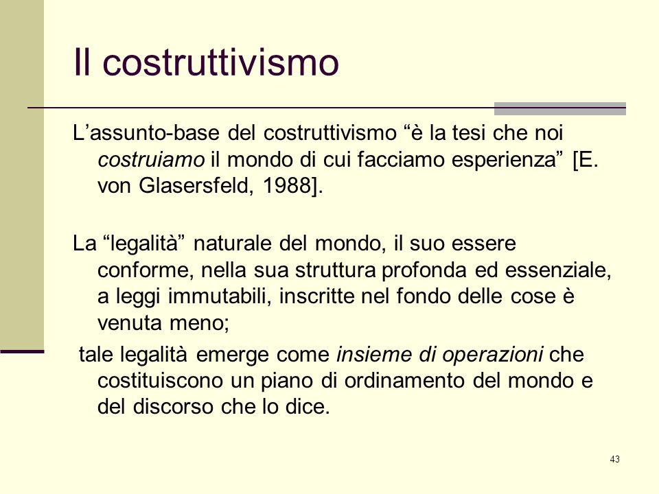 Il costruttivismo L'assunto-base del costruttivismo è la tesi che noi costruiamo il mondo di cui facciamo esperienza [E. von Glasersfeld, 1988].